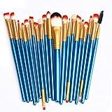 Fullkang 20 pcs Pro Make-up Toiletry Kit Wool Makeup Brush Set Tools (Blue/Gold)