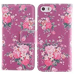 LCJ Red Flower Pattern PU Full Body Case with Card Slot and Stand for iPhone 5/5S
