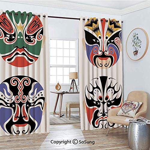 Blackout Window Curtains,Traditional Chinese Cultural Opera Mask Set Collection Asian Tribal Decorative Living Room Bedroom Thermal Insulated Window Drapes 2 Panel Set, 54