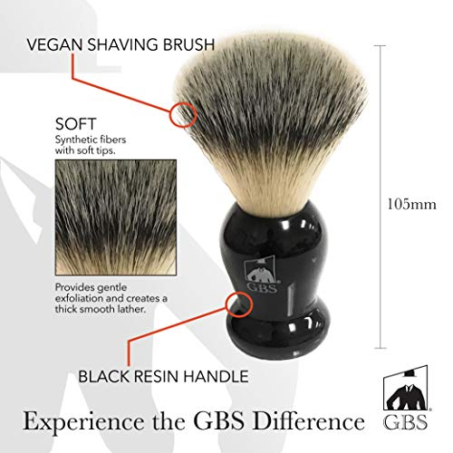 GBS Classic Synthetic Shaving Brush Bristles - Super Soft with Black Resin Handle - Compliments and Razor For Ultimate Wet Shaving + Black Stand