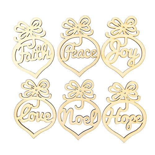 Tinksky 6pcs Wooden MDF Faith Noel Tags Christmas Party Decoration Scrapbooking Christmas Ornaments (Ornaments Christmas Scrapbooking)