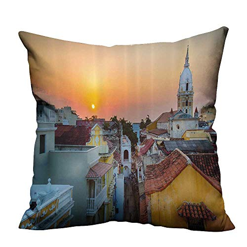 Ali Ro Silk - YouXianHome Home Decor Pillowcase View Over The Ro ps The Old City Cartagena C hedral Colombian Durable Polyester Fabric(Double-Sided Printing) 35x35 inch