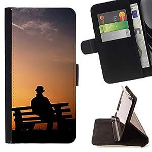 Momo Phone Case / Flip Funda de Cuero Case Cover - Banco de parque Hombre;;;;;;;; - Samsung Galaxy J1 J100