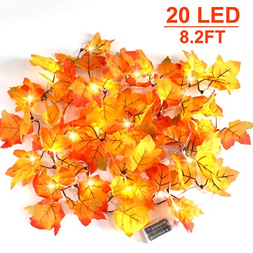 CPPSLEE Christmas Decorations Lighted Fall Garland - Christmas Decor Lights 8.2 ft 20 LED,for Thanksgiving Gift Party Christmas Decorations Waterproof Maple Leaf String Lights (Leaf Decorations Christmas Maple)