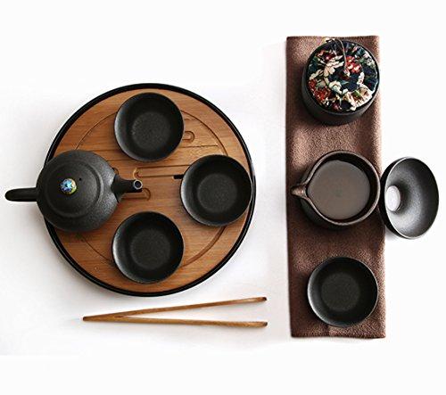 Kungfu Tea Sets Chinese/Japanese Portable Travel Tea Set Bamboo Tea Tray Tea Mat Porcelain Handmade Chinese Traditional Ceramics 1 Set