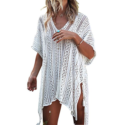 Women's Summer Wear Bathing Suit Cover Up Bikini Crochet Tunic Beach Dress (White)