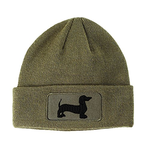 Silhouette Sewed Unisex Adult Acrylic Patch Beanie Warm Hat - Olive Green, One Size ()