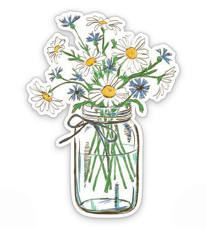 Magnet Daisies in Mason Jar - Magnetic vinyl sticks to any metal fridge, car, signs 5