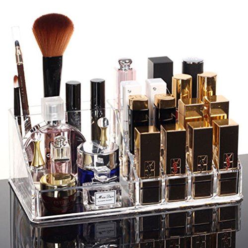 Clear Acrylic Makeup Cosmetic Organizer Brush Lipstick Holder Storage Case Box (white)