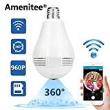 Amenitee AM-401 Fisheye Lens 360 Degrees Panoramic HD Hidden Camera, P2P WiFi IP LED light bulb,Home Security System With Real Time Monitoring And Intercom,Motion Detection, Multi-user, No Extra Fee