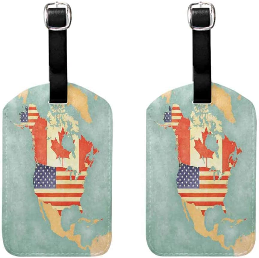 World Map Luggage tags leather (2 PCS) States and Canada Outline Map of the North America in Grunge Stylized Soft Colors Quickly find the suitcase Multicolor