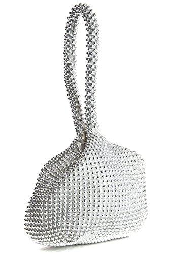 Big Handbag Shop Womens Mini Soft Body Beaded Wristlet Pouch Clutch Bag (Silver)