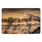 Bathroom Bath Rug Kitchen Floor Mat Carpet,Farmhouse Decor,Surreal Saturated Photo of Italian Twin Mountain Peaks with Silent Overcast Sky,Sepia,Flannel Microfiber Non-slip Soft Absorbent