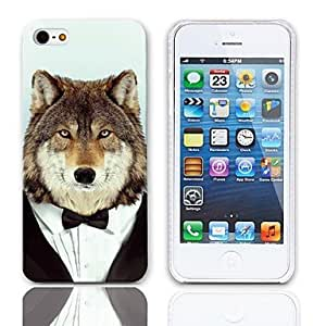 Mini - Wolf in Suit Pattern Hard Case with 3-Pack Screen Protectors for iPhone 5/5S