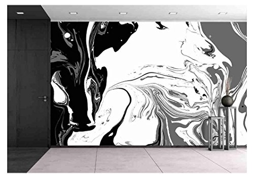 wall26 - Abstract Background. Ink. Paint. Marble Style. Black and White Liquid in Water. - Removable Wall Mural | Self-adhesive Large Wallpaper - 100x144 inches