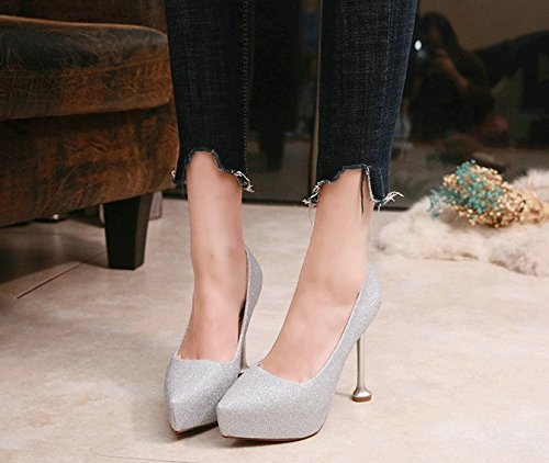 Table Work MDRW Sexy Heels 11 Single Banquet 36 Shoes And Waterproof Elegant High Spring Fine Banquet Lady 5Cm Leisure Silver Heel Shallow Heels Cat E66qAw