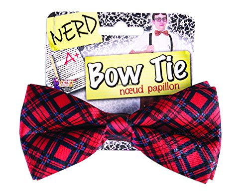 Nerd Bowtie Bow Tie Plaid Geek Accessory Halloween Dork Adult Funny Costume -