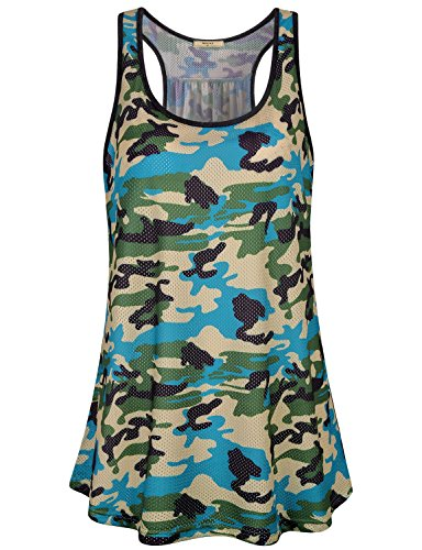 Miusey Athletic Tank Top Women, Ladies Excise Sleeveless Round Neck Tunics Moisture Wicking Breathable Airy Shirts Flare Flattering Pattern Print Activewear Mesh Camouflage Green - Print Top Athletic Tank