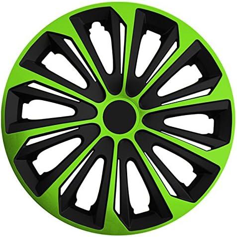 Autoteppich Stylers Größe Wählbar 14 Zoll Radkappen Radzierblenden Strong Bicolor Schwarz Grün Passend Für Fast Alle Fahrzeugtypen Universal Auto