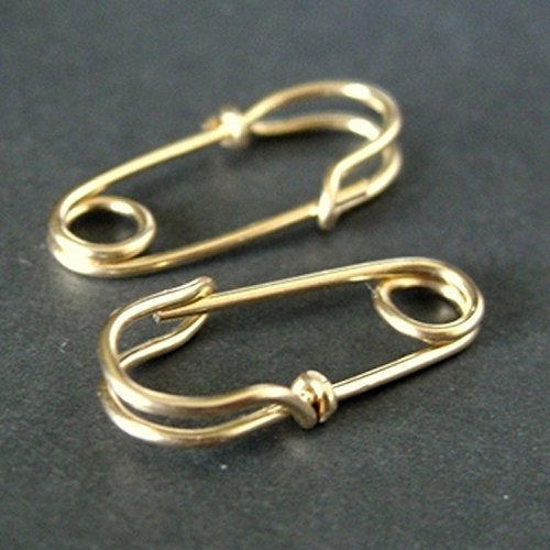 Solid 14k gold MINI Safety Pin earrings (double loops) - simple everyday hoop earrings by Mu-Yin Jewelry