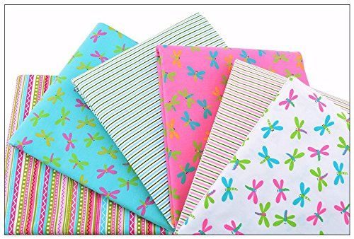 6pcs/lot 40x50cm Print Twill Cotton Fabric For Sewing Doll Baby Bedding Clothes Dress Skirt Patchwork Dragonfly (Wholesale Kona Cotton)