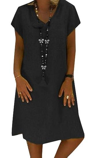 a837527c08 KLJR Women Pure Color Casual Plus Size V-Neck Short Sleeve A-Line Midi