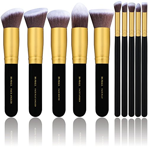 BS-MALL(TM) Makeup Brushes Premium Makeup Brush Set Synthetic Kabuki Cosmetics Foundation Blending Blush Eyeliner Face Powder Brush Makeup Brush Kit (10pcs, Golden - Premium Mall