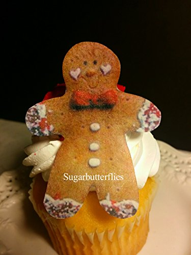 Edible Gingerbread  Candy  Cupcake Toppers Set Of 18