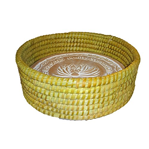 The Crabby Nook Warming Bread Basket with Lotus Warmer Tile Stone Hand Woven For Rolls Appetizers (12 Inch Natural) by The Crabby Nook (Image #1)