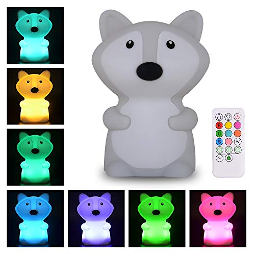 ATOMFIT LED Nursery Night Lights for Kids: Cute Animal Silicone Baby Night Light with Touch Sensor and Remote - Portable and Rechargeable Infant or Toddler Cool Color Changing Bright (Fox)