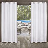 Exclusive Home Miami Textured Sheer Indoor/Outdoor Window Curtain Panel Pair with Grommet Top, 54×96, Winter White, 2 Piece Review