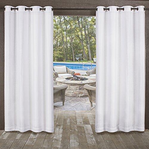 Exclusive Home Miami Textured Sheer Indoor/Outdoor Window Curtain Panel Pair with Grommet Top, 54x84, Winter White, 2 Piece (Curtains Outdoor Indoor)
