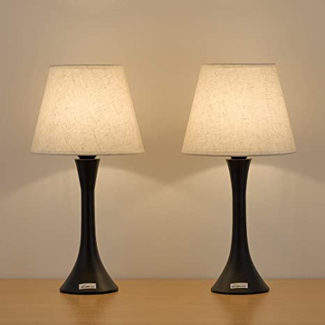 HAITRAL Bedside Table Lamps Set of 2 - Minimalist Nightstand Lamps with  Fabric Shade Simple Small Desk Lamps for Bedroom, Office, College Dorm -  Black ...