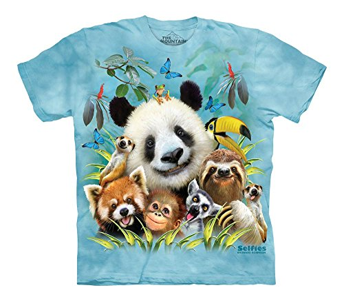 The Mountain Zoo Selfie Child T-Shirt, Blue, (Bear Organic Kids T-shirt)