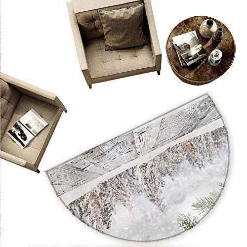Winter Semicircular Cushion Abstract Christmas Theme with Snow Covered Forest and Wooden Surface Image Entry Door Mat H 63
