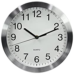 Magho Big Digit Silent Non-ticking Indoor Wall Clock,Glass Cover,Silver Color Metal Frame,10'