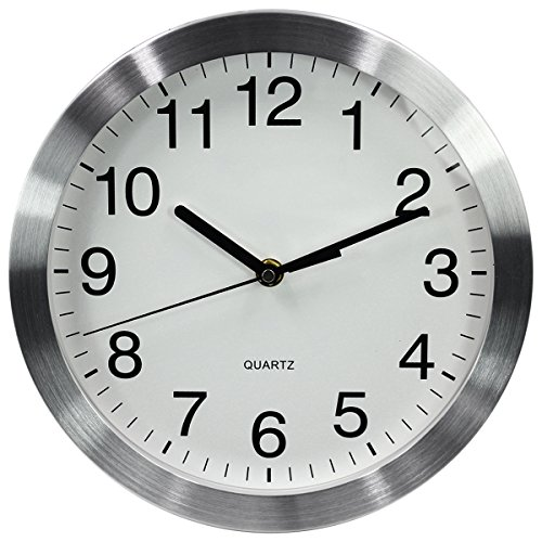 Bath Aluminum Wall Clock - MAGHO Big Digit Large Decorative Wall Clock - Quartz Sweep - Glass Cover - 10 Inch Round Aluminum Frame - Battery Operated - White Face