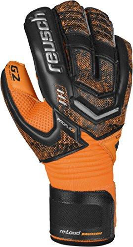 Reusch Soccer Re:Load Supreme G2 Goalkeeper Glove, Black/Orange, Size 9 (G2 Goalkeeper Gloves)