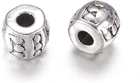 Sterling Silver Barrel Bead Thai Style Barrel Bead with Unique Pattern DIY Jewelry Supplies Antique Sterling Silver Barrel Bead 2 pcs