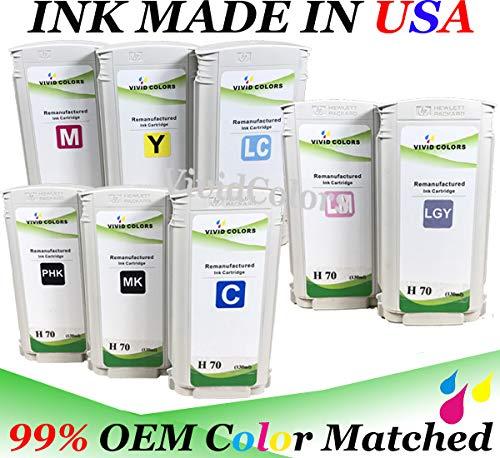 - 8 Remanufactured Ink Cartridges HP 70 (1 Matte Black C9448A,1 Photo Black C9449A,1 Cyan C9452A,1 Magenta C9453A,1 Yellow C9454A, 1 Light Cyan C9390A,1 Light Magenta C9455A,1 Light Gray C9451A)