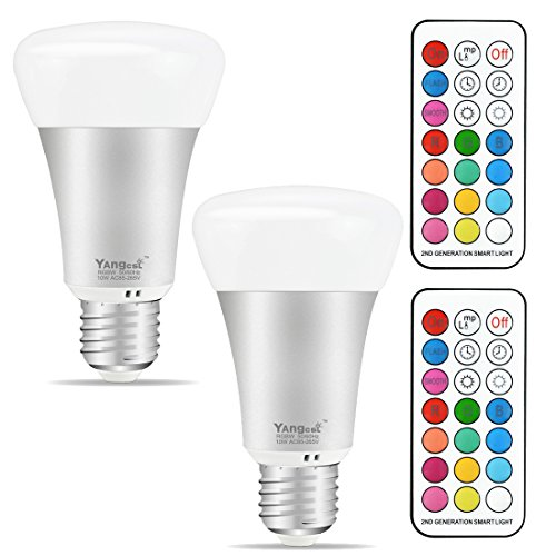 Colour Changing Light - Yangcsl E26 LED Color Changing Light Bulb, 10W Dimmable RGB LED Light Bulbs with Remote Control, 60 Watt Equivalent (Pack of 2)
