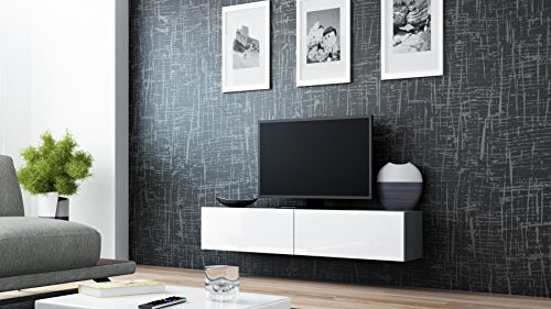 Seattle Floating TV Cabinet – TV Stand with High Gloss fronts - Seattle Hanging TV console (Small, Grey & White) (Small White Tv Cabinet)
