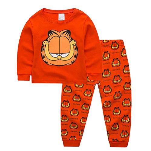 Garfield - Sidney Boys Garfield Pjs Pants 2 Piece Pajama Set,Size 2-7Yrs (Orange, 4t)