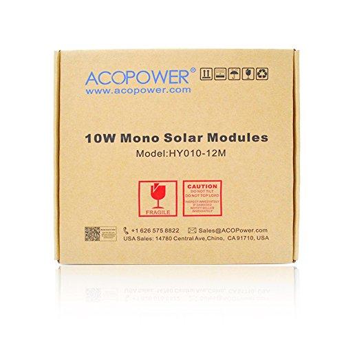 ACOPOWER 10 watt 10W Monocrystalline Photovoltaic Pv Solar Panel Module for 12v Battery Charging