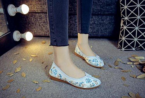Lazutom Dame Slip Stickerei On Stil Frauen Hellblau Tanzschuhe Loafer Chinesischen 5rXxqI5wO