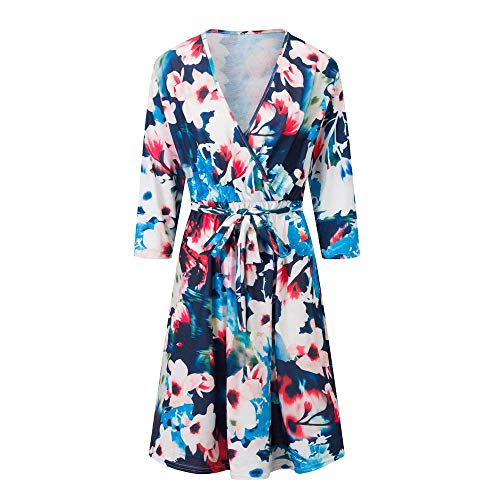 Dressin Women's Floral Printed Maxi Dress 3/4 Sleeve Casual Swing Long Maxi Dress with Belt (Design Knob Petal Flower)