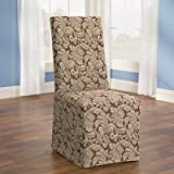 Scroll Classic Fit Dining Chair Slipcover Fabric: Brown