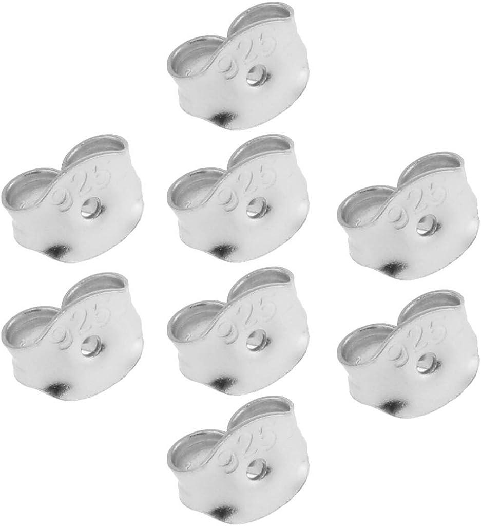 LoveinDIY 8Pcs 925 Sterling Silver Butterfly Earring Backing Back Jewelry Nut Post