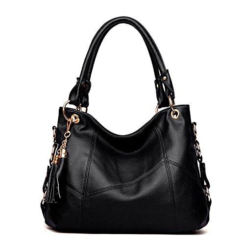 Women's Tote Shoulder Bag Handbag Purses Satchel Shoulder Bags Handle Bag Leather tassel (black) by AMOR PROFONDO