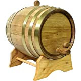 Oak Beverage Dispensing Barrel with Brass Bands: 2 Liter - Whiskey